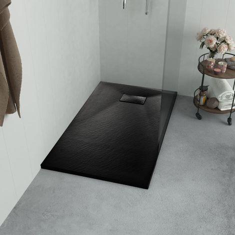 Hommoo Plato de ducha SMC negro 100x70 cm