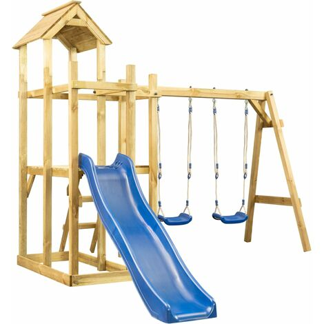 Hommoo Playhouse with Slide Swing Ladder 285x305x226.5 cm QAH36113