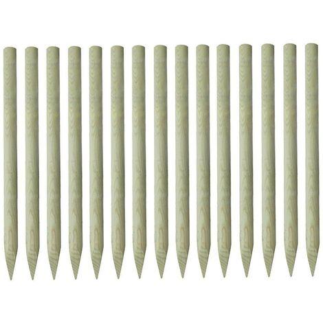 Hommoo Pointed Fence Posts 15 pcs FSC Impregnated Pinewood 4x150 cm