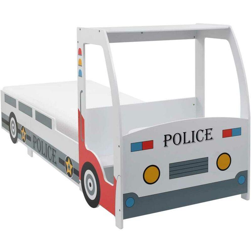 Hommoo Polizeiauto-Kinderbett mit Matratze 90x200 cm 7 Zone H2 VD21100