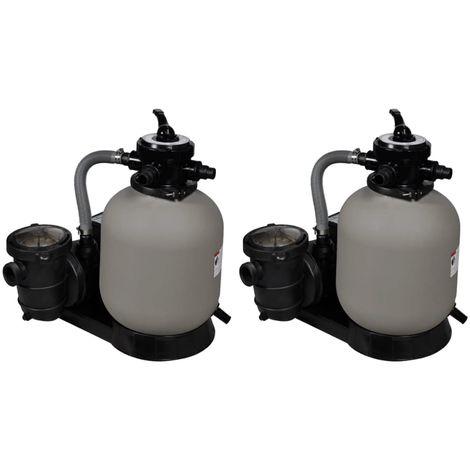 Hommoo Pompes à filtre à sable 2 pcs 600 W 17000 l/h