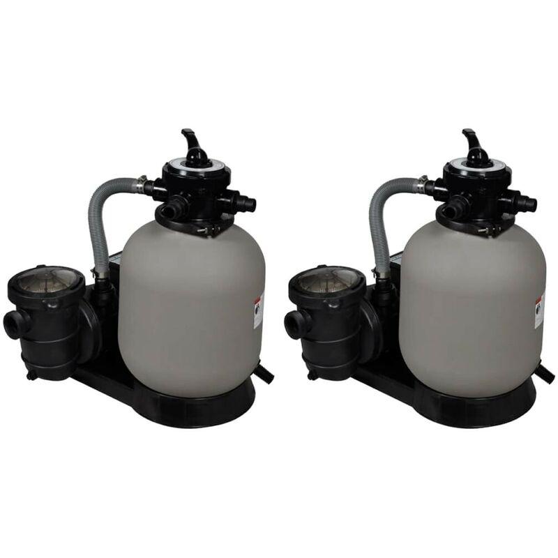 Pompes à filtre à sable 2 pcs 600 W 17000 l/h HDV19825 - Hommoo