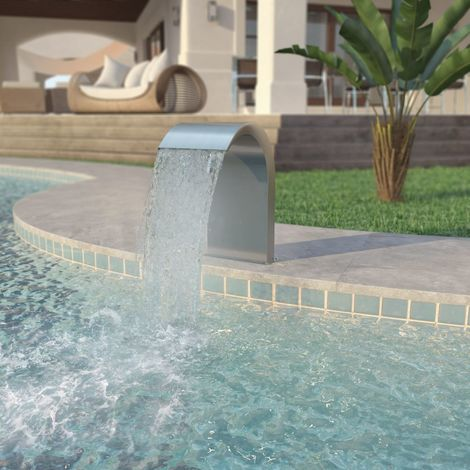 Hommoo Pool Fountain Stainless Steel 45x30x65 cm Silver VD27980