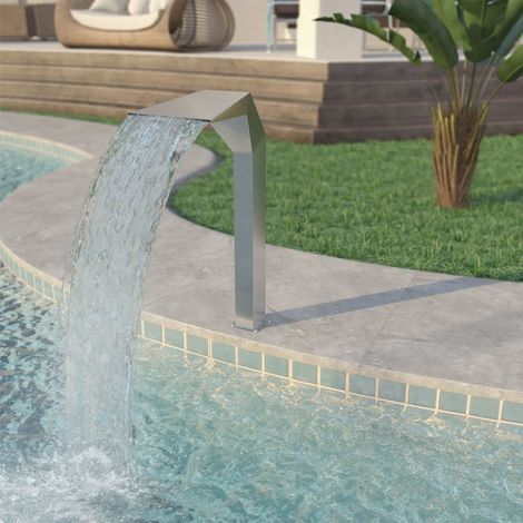 Hommoo Pool Fountain Stainless Steel 50x30x90 cm Silver VD27983