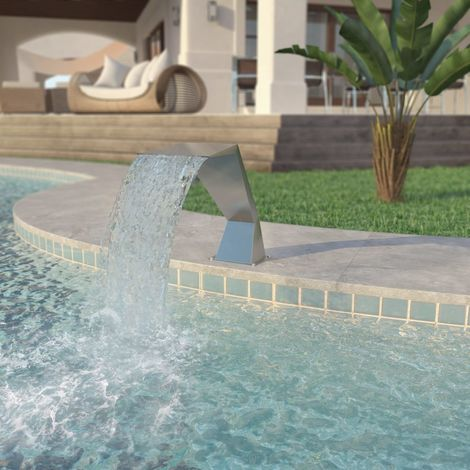 Hommoo Pool Fountain Stainless Steel 64x30x52 cm Silver VD27982