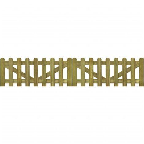 Hommoo Portail de clôture à piquets 2 pcs Bois imprégné FSC 300x60 cm HDV26764