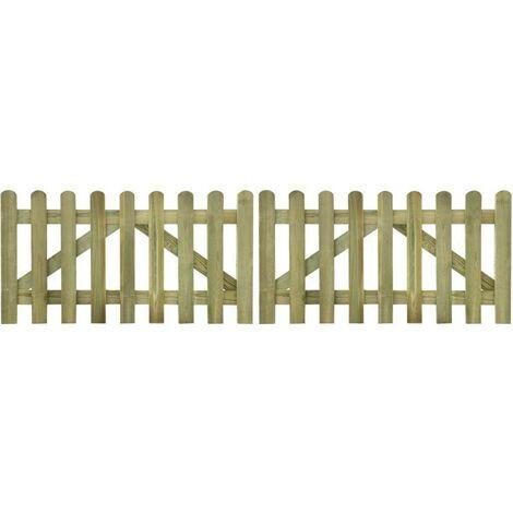 Hommoo Portail de clôture à piquets 2 pcs Bois imprégné FSC 300x80 cm HDV26765