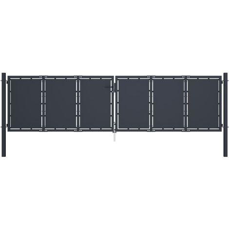 Hommoo Portail de jardin Acier 400 x 125 cm Anthracite