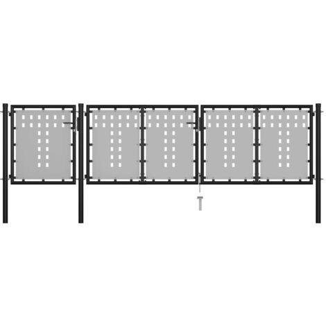Hommoo Portail de jardin Acier 400 x 75 cm Noir HDV34852