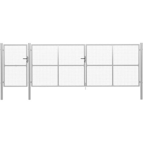 Hommoo Portillon Acier 500 x 125 cm Argenté HDV05984