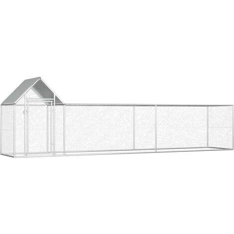 Hommoo Poulailler 5 x 1 x 1,5 m Acier galvanisé HDV06049