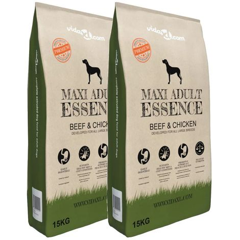 Hommoo Premium Dry Dog Food Maxi Adult Essence Beef&Chicken 2pcs 30kg VD18128