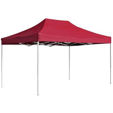 Hommoo Professional Folding Party Tent Aluminium 4.5x3 m Wine Red