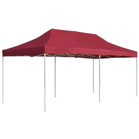 Hommoo Professional Folding Party Tent Aluminium 6x3 m Wine Red