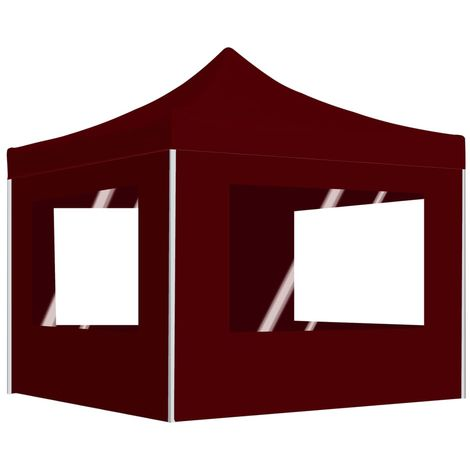 Hommoo Professional Folding Party Tent with Walls Aluminium 3x3 m Wine Red