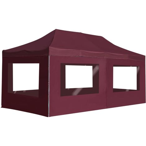 Hommoo Professional Folding Party Tent with Walls Aluminium 6x3 m Wine Red