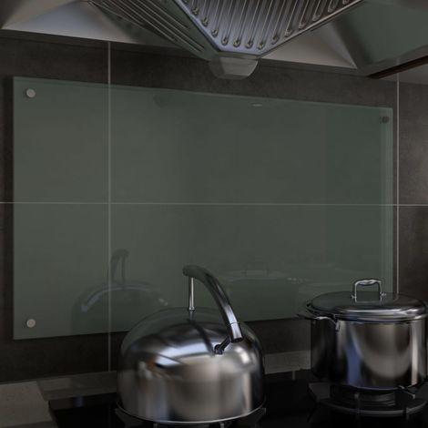 Hommoo Protector salpicaduras cocina vidrio templado blanco 90x50 cm