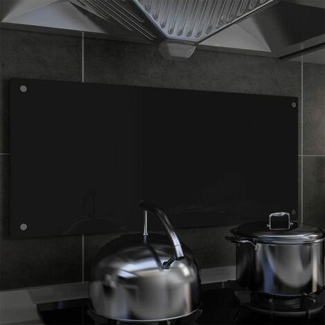 Hommoo Protector salpicaduras cocina vidrio templado negro 90x40 cm