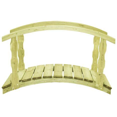Hommoo Puente para jardín con barandilla madera pino 170x74x105cm