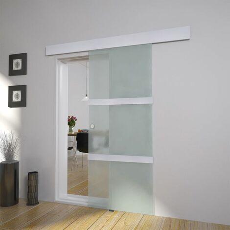 Hommoo Puerta corredera de cristal y aluminio 178 cm plateado HAXD30879
