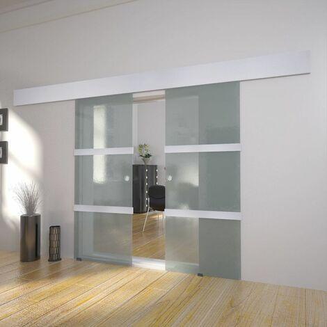 Hommoo Puerta corredera doble de vidrio HAXD17114