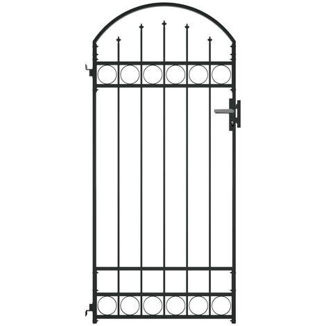 Hommoo Puerta de jardín con arco de acero negro 100x200 cm