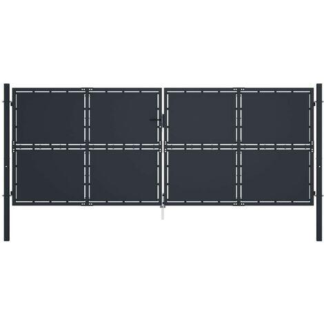 Hommoo Puerta de jardín de acero gris antracita 400x150 cm
