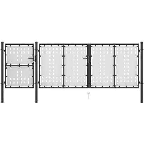 Hommoo Puerta de jardín de acero negro 400x125 cm