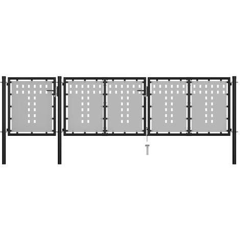 Hommoo Puerta de jardín de acero negro 400x75 cm