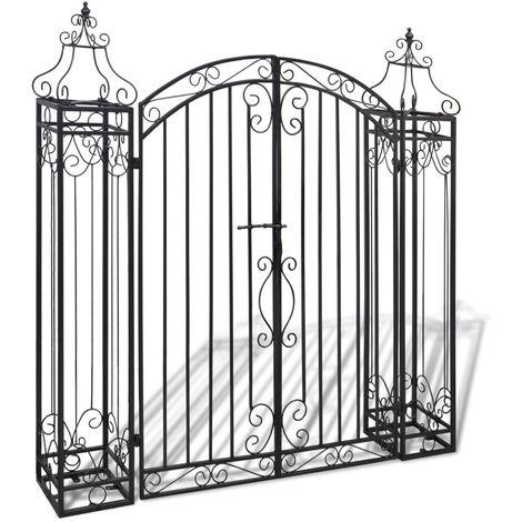 Hommoo Puerta de jardín decorativa de hierro forjado 122x20,5x134 cm
