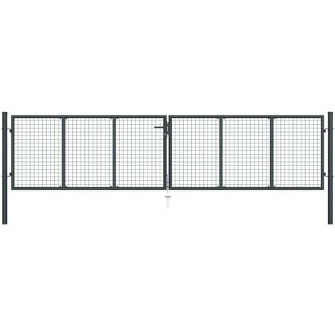Hommoo Puerta de malla de jardín acero galvanizado gris 400x150 cm