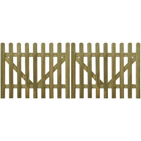 "main image of ""Hommoo Puerta de valla 2 unidades madera impregnada 300x120 cm"""