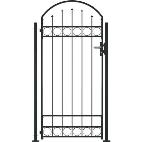 Hommoo Puerta de valla con arco y 2 postes negra 100x200 cm