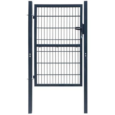 Hommoo Puerta de valla de acero gris antracita 106x250 cm