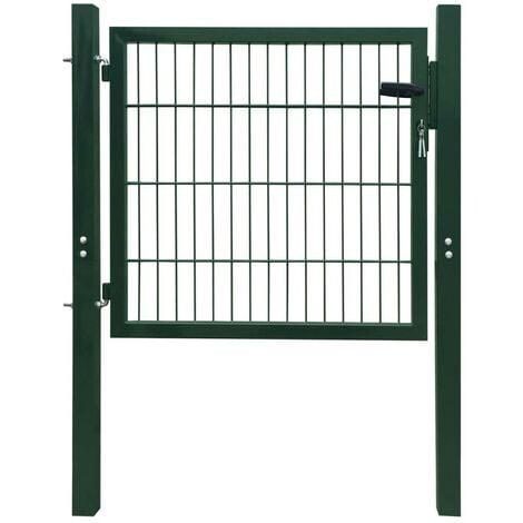 Hommoo Puerta de vallado de acero verde 106x150 cm