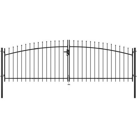 Hommoo Puerta doble para valla con puntas de lanza 400x200 cm