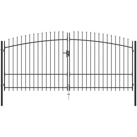 Hommoo Puerta doble para valla con puntas de lanza 400x225 cm