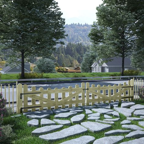 Hommoo Puertas de valla 2 uds madera de pino impregnada 150x60 cm