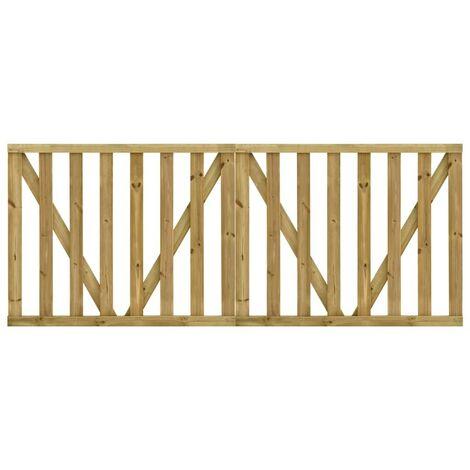 Hommoo Puertas listones jardín 2 uds madera pino impregnada 150x120 cm