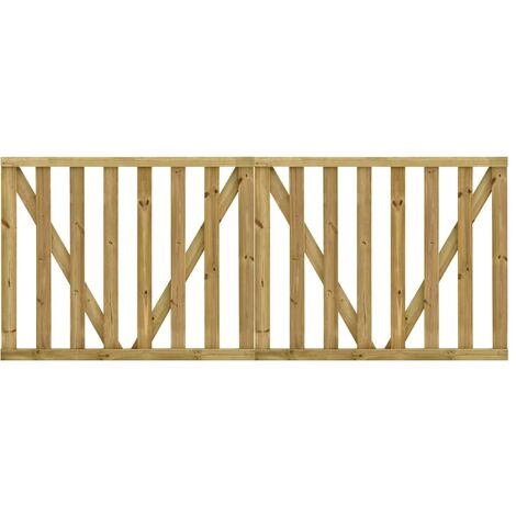 Hommoo Puertas listones jardín 2 uds madera pino impregnada 150x120 cm HAXD46944