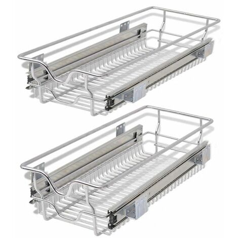 Hommoo Pull-Out Wire Baskets 2 pcs Silver 300 mm QAH30391