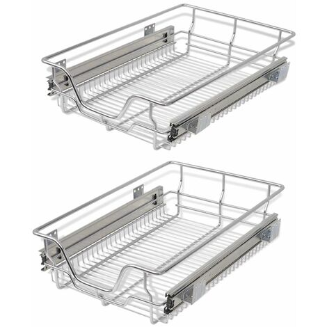 Hommoo Pull-Out Wire Baskets 2 pcs Silver 400 mm QAH30392
