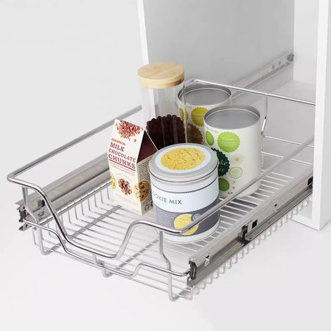 Hommoo Pull-Out Wire Baskets 2 pcs Silver 400 mm VD30392