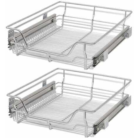 Hommoo Pull-Out Wire Baskets 2 pcs Silver 500 mm QAH30393