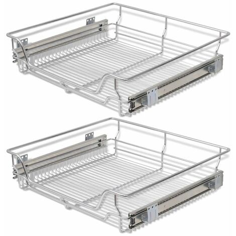 Hommoo Pull-Out Wire Baskets 2 pcs Silver 600 mm QAH30394
