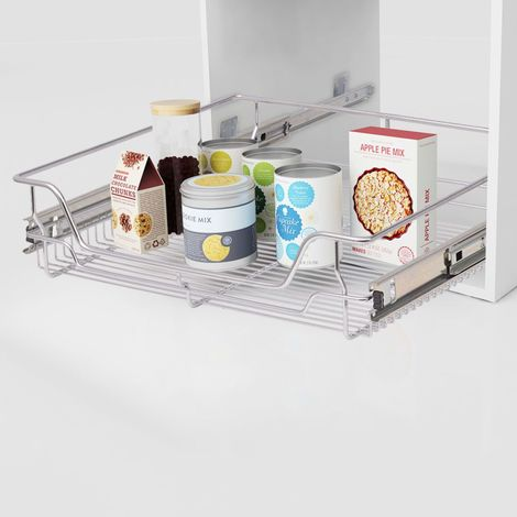Hommoo Pull-Out Wire Baskets 2 pcs Silver 600 mm VD30394