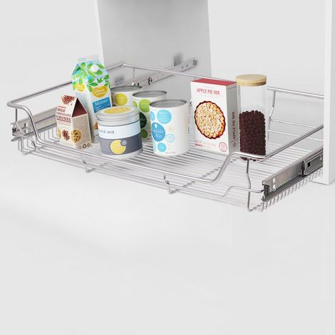 Hommoo Pull-Out Wire Baskets 2 pcs Silver 800 mm