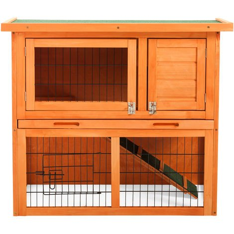 Hommoo Rabbit Bunny Hutch Cage House Guinea Pig Hutch Hide/Run with Linoleum Roof 2-Tier