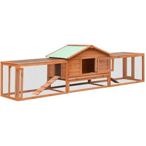 Hommoo Rabbit Hutch Solid Pine & Fir Wood 303x60x86 cm