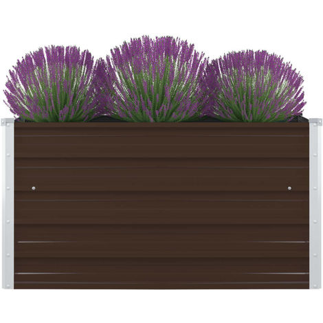 Hommoo Raised Garden Bed 100x100x45 cm Galvanised Steel Brown VD45680